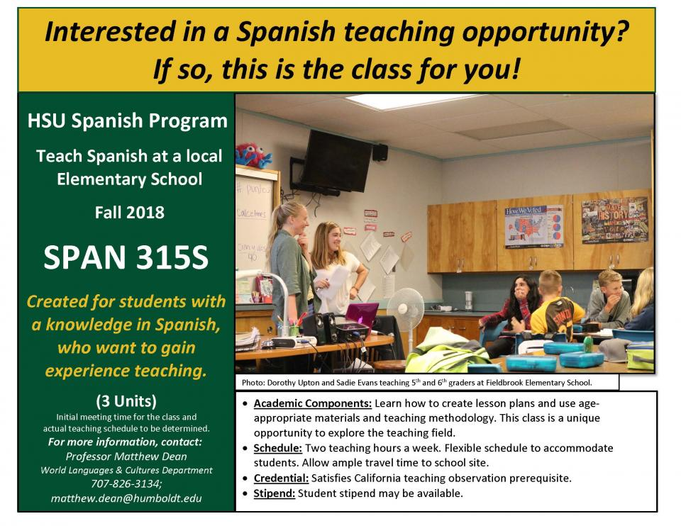 Spanish 315S flyer Fall 2018