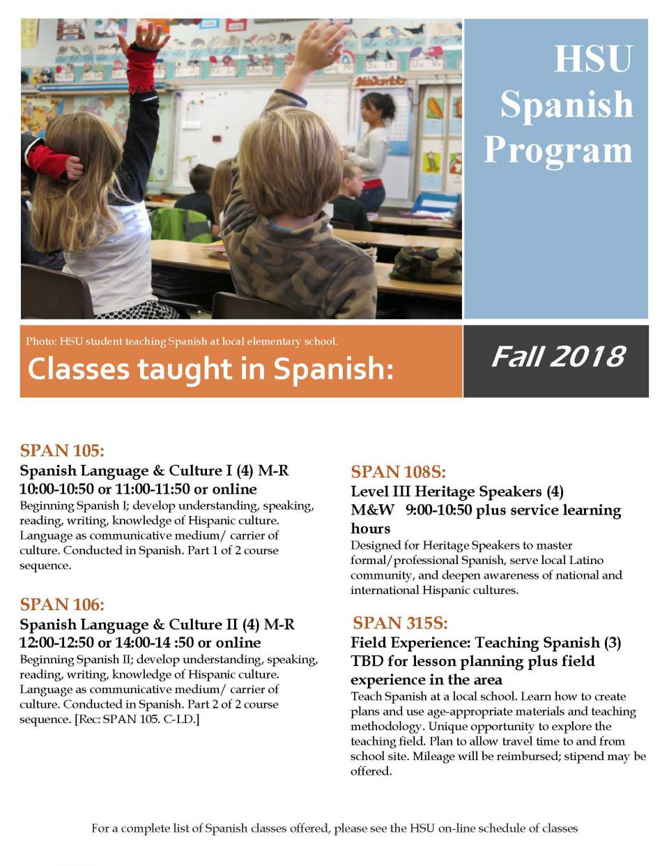 Spanish classes flyer Fall 2018