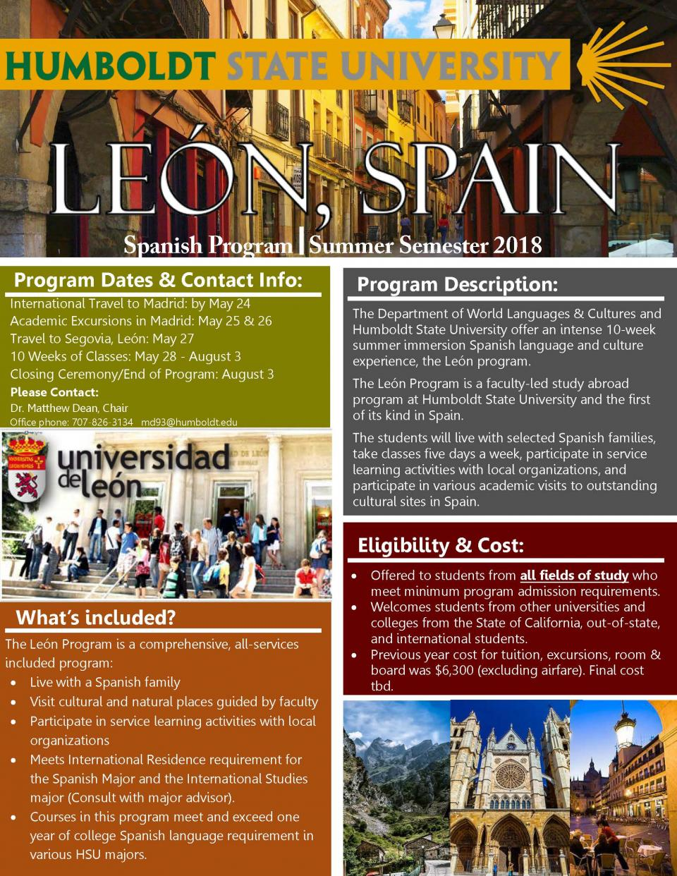 Leon study abroad flyer.