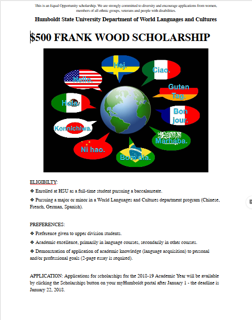 Frank Wood Scholarship Flyer