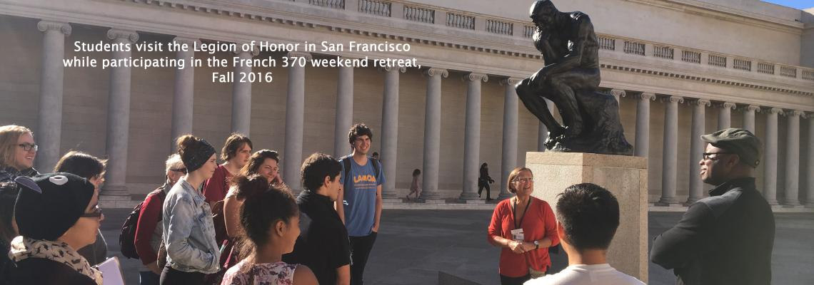 Students visit the Legion of Honor in San Francisco while participating in the French 370 weekend retreat, Fall 2016.