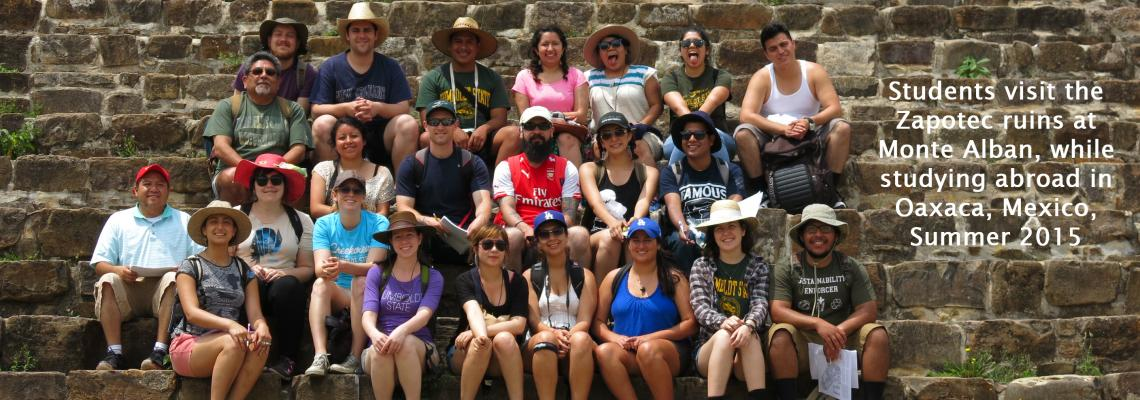 Students visit the Zapotec ruins at Monte Alban while studying abroad in Oaxaca, Mexico in summer 2015