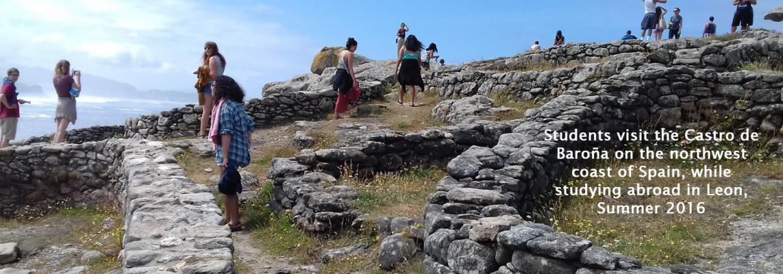 As part of an overnight excursion, León Program students visit the Castro de Baroña on the northwest coast of Spain, an excavat